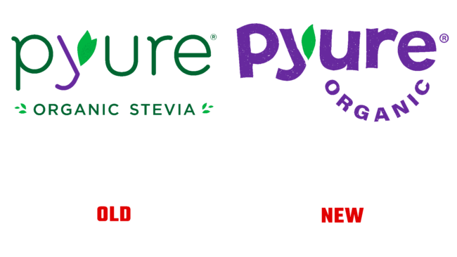 Pyure Organic Altes und Neues Logo (Geschichte)