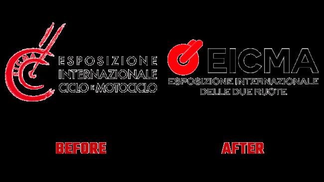 EICMA Vorher und Nachher Logo (Geschichte)
