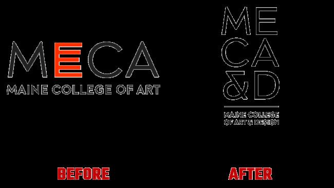 Maine College of Art & Design (MECA&D) Vorher und Nachher Logo (Geschichte)