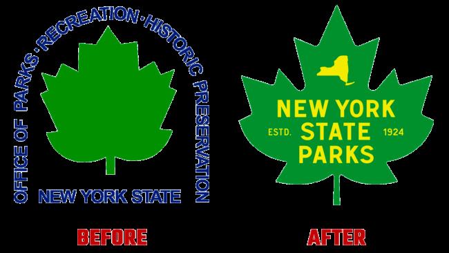 NY State Parks Vorher und Nachher Logo (Geschichte)