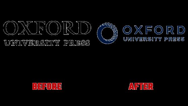 Oxford University Press Vorher und Nachher Logo (Geschichte)