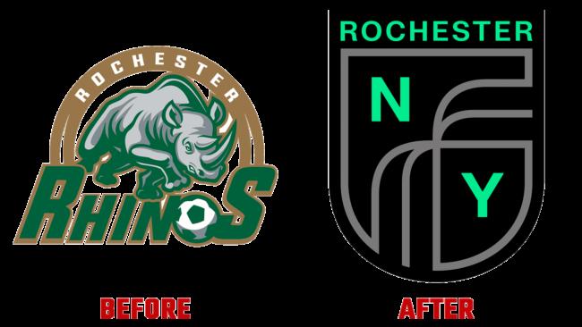 Rochester New York FC Vorher und Nachher Logo (Geschichte)