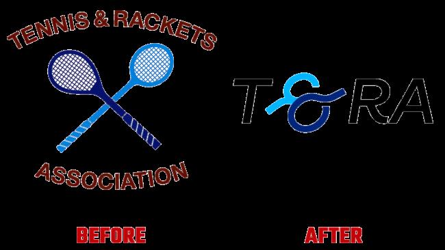 Tennis and Rackets Association Vorher und Nachher Logo (Geschichte)